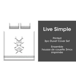 LIVE SIMPLE 2PC ENS HOUSSE DE COUETTE BLANC/NOIR SIMPLE 2B