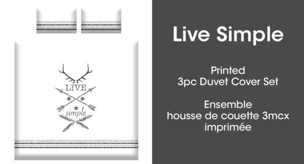 LIVE SIMPLE 3PC ENS HOUSSE DE COUETTE BLANC/NOIR DOUBLE 2B