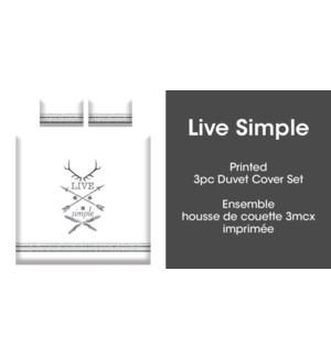 LIVE SIMPLE 3PC ENS HOUSSE DE COUETTE BLANC/NOIR GRAND 2B