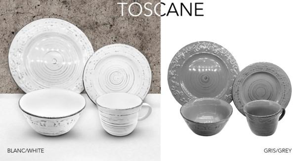 SET DE VAISSELLE 16 MCX ''TOSCANE'' BLANC