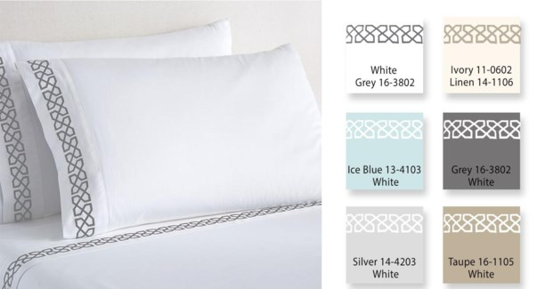 Embroid Mf Sheet Set SIL/WHI K 12B