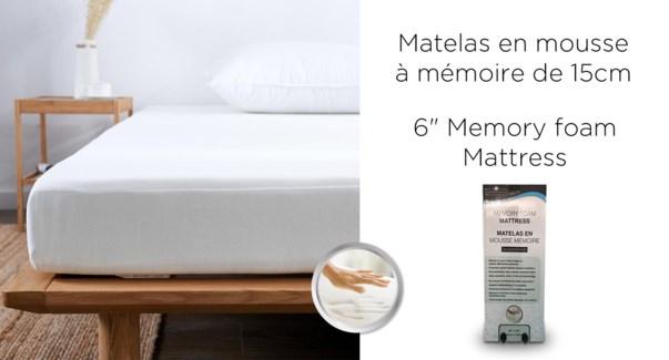 """6"""" MATELAS DE MOUSSE DE MMOIRE 38x75"""" DANS UNE BO×TE T"""