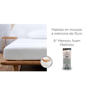 """6"""" MATELAS DE MOUSSE DE MMOIRE 53x75""""DANS UNE BO×TE F"""
