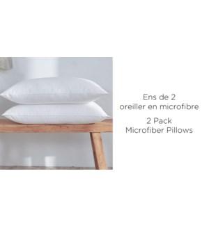 OREILLERS PAQUET DE 2 EN MICROFIBRE 19X28 8/B