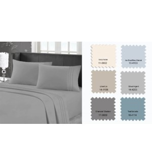 95 GSM MF W/EMB SHEET SET Q ICE BLUE