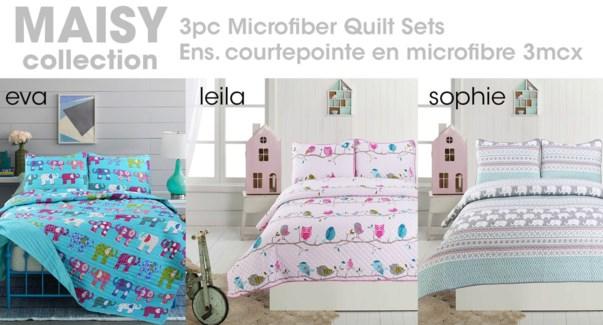MAISY 2pc Microfiber Quilt Set -AssT:3/BOX-1 OF EACH T