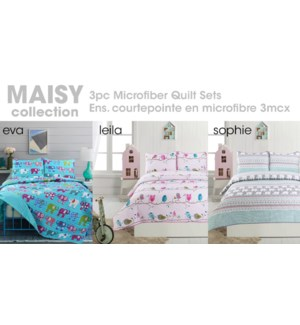 MAISY 2pc Microfiber Quilt Set -AssT:3/BOX-1 OF EACH T