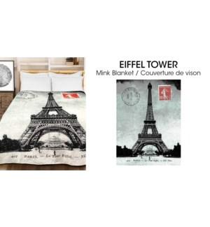 Couverture en micro vison de Eiffel Tower 78x94 3/b