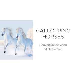 gallopping horses mink blanket 78*94 3/b