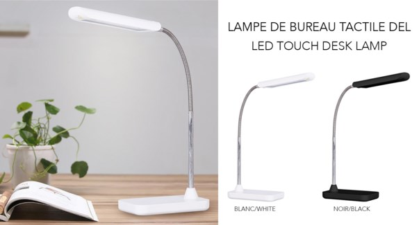 LED Touch Desk Lamp ASS Blk/Whi - 8B