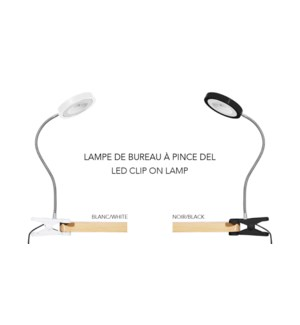 LED Clip On Lamp ASS Blk/Whi- 8B