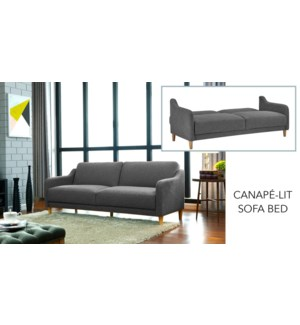 3-SEAT KLIK-KLAK SOFA/BED GREY FABRIC 196X91X81/196X113X44CM