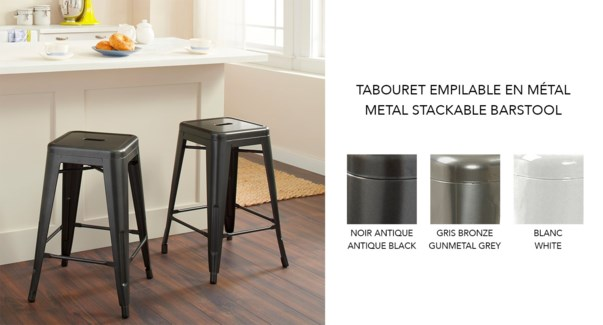 METAL 24 INCH Barstool STACKABLE BLACK 41X41X61CM 4/B
