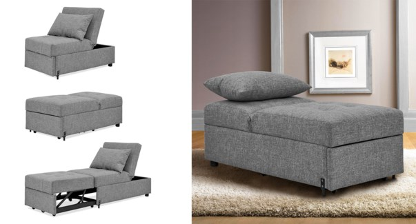 1 SEAT KLIK-KLAK CHAIR/BED GREY 61X122X85/67X188X46CM