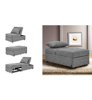 1 SEAT KLIK-KLAK CHAIR/BED GREY 61X122X85/67X188X46CM