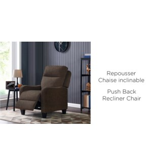 BROWN  PUSH BACK RECLINER CHAIR 76X89X104CM