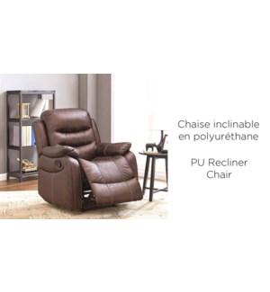 DELUXE PU RECLINER CHAIR BROWN 85X98X105CM
