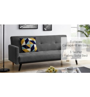 CHARCOAL FABRIC 3 SEATER SOFA/BED KLIK-KLAK 188X85X80