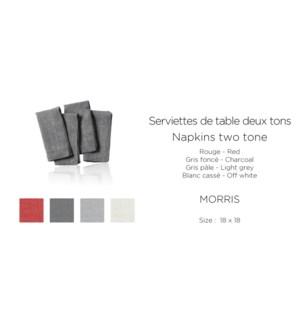 4pc Morris Two Tone Melange-ROUGE-18x18-NAPKINS