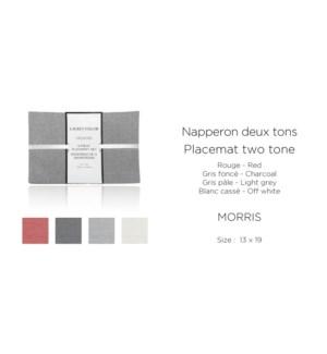 4pk Morris Two Tone Melange-Gris Pale-13 x 19-PLACEMAT