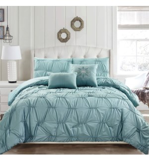 Nadia 5 pc w/ruching-Sea Foam-90 x 90-COMF SET