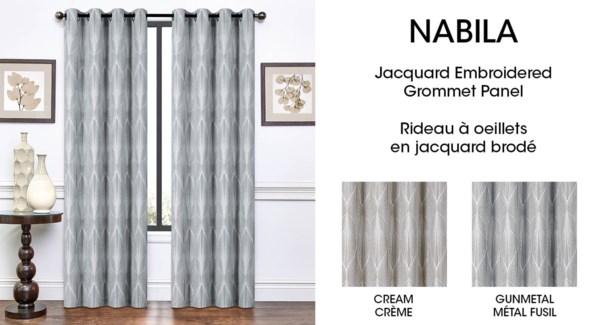 NABILA jacq embroidered grom top panel Gunmetal 54*84 12/b