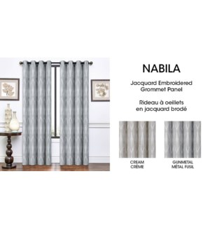 NABILA jacq embroidered grom top panel Gunmetal 54*84 12/b