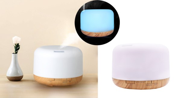 500ML White/Bamboo Aroma Diffuser Color Changing - 6B