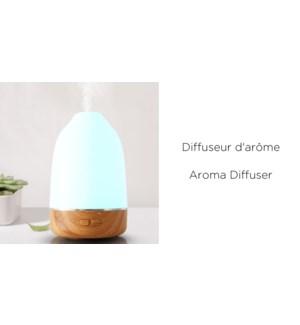 "Diffuseur d'ar""mes LED  Bamboo/ Blanc -100ML- 9.2x9.2x14.5"