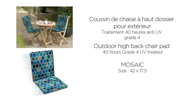 Mosaic high back chair pad 42X17.5 turquoise 4/B