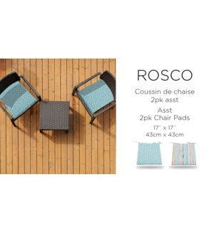 ROSCO 2pk chair pad 17X17 ASST.8/B