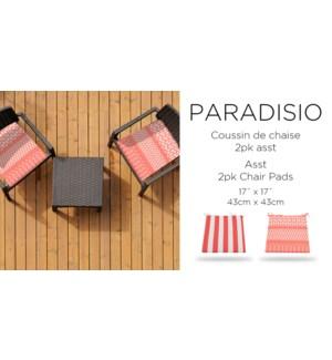 PARADISIO RED 2pk chair pad 17X17 ASST.8/B