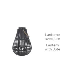 Lantern Black and Jute 50'' w/Glass - 2B