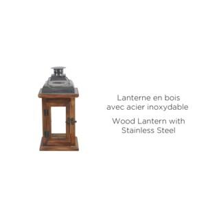 Dessus de bois lanterne Stainles - 14x14x29 - 6B
