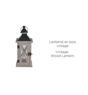 Bois Vintage Blanc Lantern Blk Top 12.5x12.5x30.5 - 6B