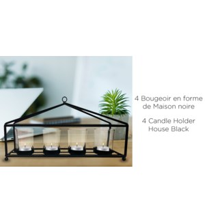 4 bougeoirs maison noire 32x9x16.5-8b