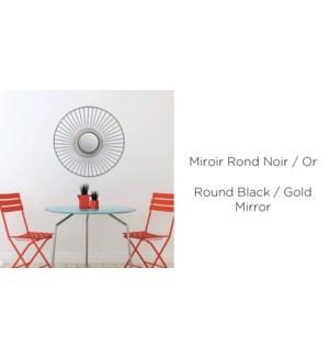 Miroir Rond Noir / Or 48x58 - 8B
