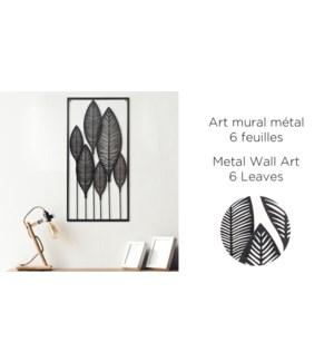 Art mural m'tal 6 feuilles 75x40-6B