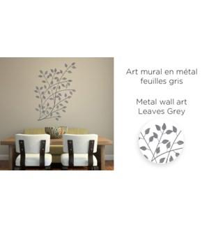 Art mural en m'tal Feuilles Gris 50x85-6B