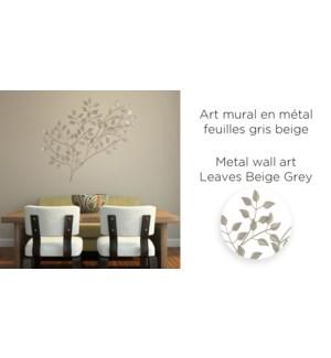 D'coration murale en m'tal Leaves Beige Grey 81x56 - 6B