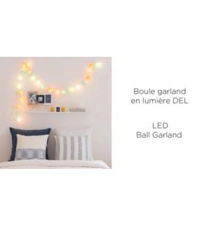 Boule Guirlande 10 LED - Jaune / Blanc / Gry - 6CM - 18B