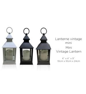 """Lanterne Mini 10x10x24 Vintage Whi / Blk / Gry Asst. -12B"