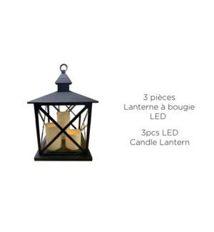 Bougie Lanter LED 3PC - 23.5x23.5x37.5-2B