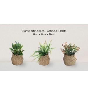 Plante artificielle dans un panier tiss' 11x11x20 - 12B
