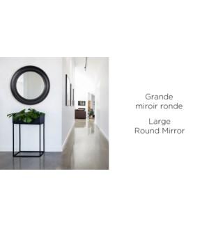 Miroir Rond Grand - Noir Vintage - 91.4x91.4x5.8 - 2B