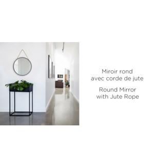 Miroir Rond sur Jute Black Noir Vintage - 50x50x4.5 - 4B