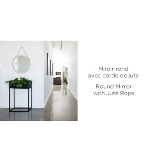 Miroir Rond sur Jute Blanc Pinceau Vintage - 50x50x4.5 - 4B