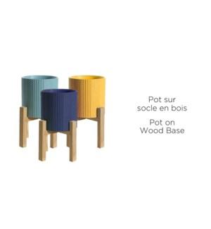 Pot sur socle en bois - 16x15.7- Asst- 12B