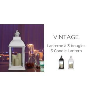 Lanterne … 3 bougies Vintage -Blanc 23,5x23,5x51 - 2B