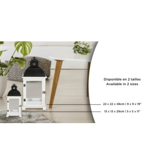 Lanterne blanche Noir Top 22x22x48 2B